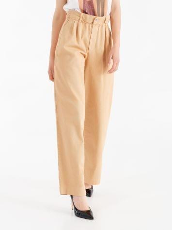 Cotton paper bag trousers  Cotton paper bag trousers  Rinascimento