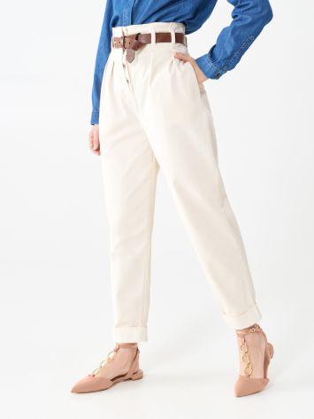 Pantaloni a Vita Alta in Cotone  Pantaloni a Vita Alta in Cotone  Rinascimento