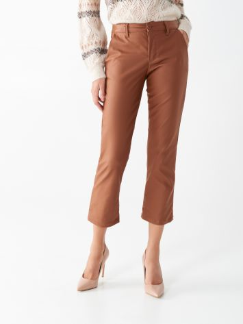 Cropped trousers in faux leather Cropped trousers in faux leather Rinascimento