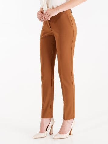 Trousers in caramel technical fabric Trousers in caramel technical fabric Rinascimento