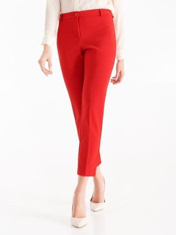 Trousers in true red technical fabric Trousers in true red technical fabric Rinascimento