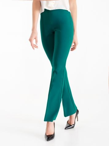 Mid-flared trousers in technical fabric, teal Mid-flared trousers in technical fabric, teal Rinascimento