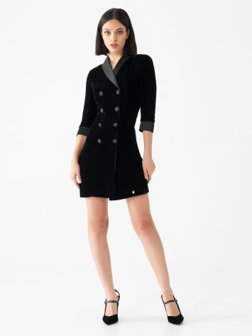 Double-breasted short velvet dress Double-breasted short velvet dress Rinascimento