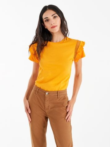 T-Shirt with cap sleeves and a jour detail T-Shirt with cap sleeves and a jour detail Rinascimento