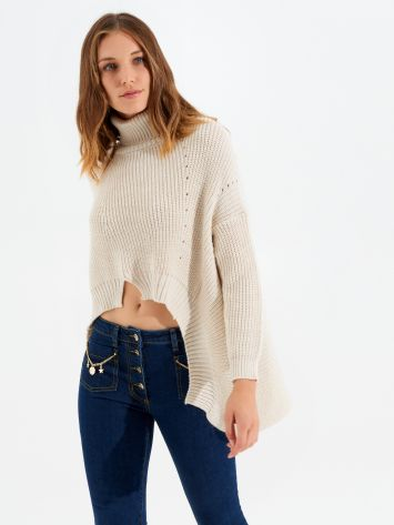 High-neck asymmetric wool-blend jumper High-neck asymmetric wool-blend jumper Rinascimento