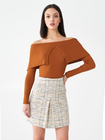 Ribbed off-shoulder top Ribbed off-shoulder top Rinascimento
