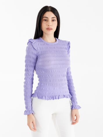 Embossed long sleeve top with micro ruffles Embossed long sleeve top with micro ruffles Rinascimento