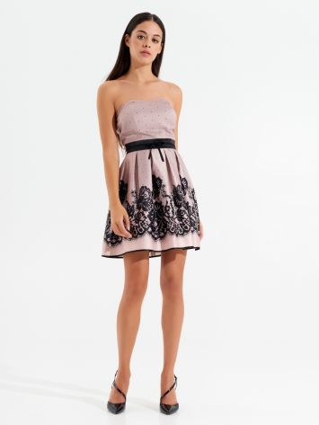 Short dress with satin lace print Short dress with satin lace print Rinascimento