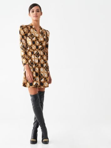 Short dress with chain print Short dress with chain print Rinascimento