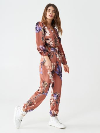 Floral satin one-piece suit