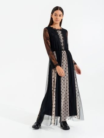 Long lace dress with polka dots