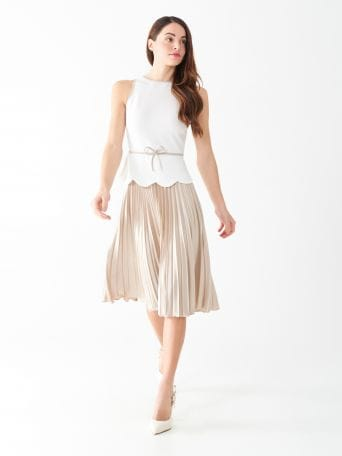 Pleated two-tone dress
