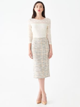 Bouclé and lace dress