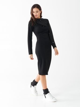 Knit dress with asymmetrical sequin embroidery