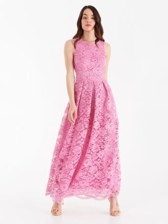 Long macramé lace dress