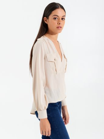 Long-sleeved crossover blouse