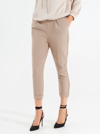 Cigarette pants with elastic waist