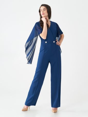 Voile crossover one-piece trouser suit