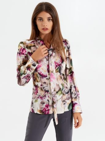 Floral blouse with tie collar