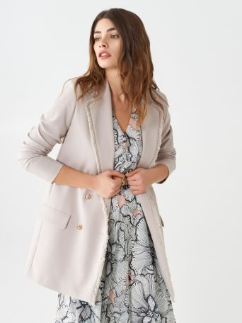 Double-breasted blazer with fringed hems