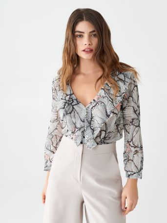 Black flowers blouse