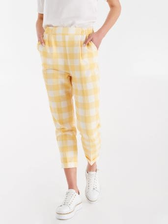 Maxi checker print trousers