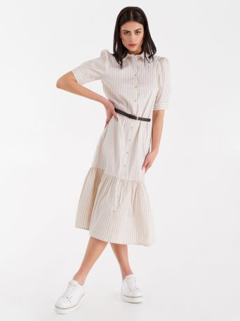 Vichy and striped print midi dress