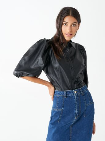 Leatherette Shirt with Balloon Sleeves