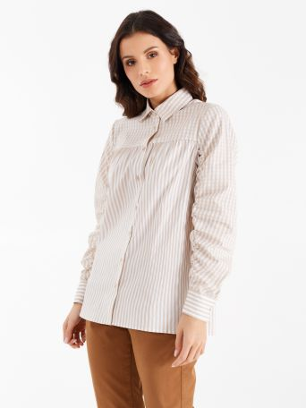 Vichy and stripe print shirt