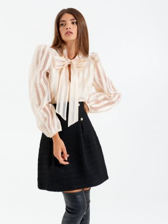 Organza blouse with bow