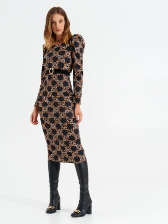Printed bodycon midi dress