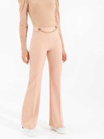 Wide leg trousers with chain