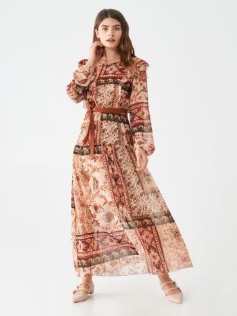 Foulard-print maxi dress