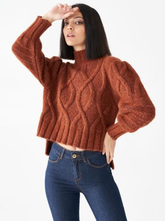 Asymmetrical jumper with turtleneck