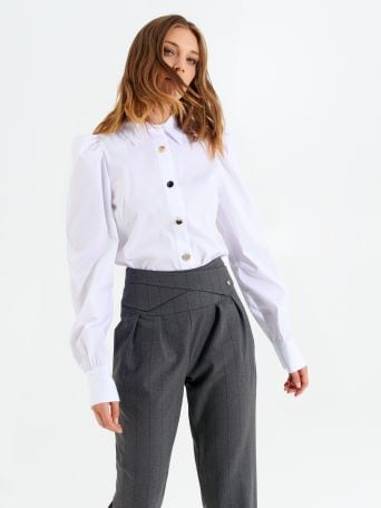 Long puff-sleeved cotton shirt