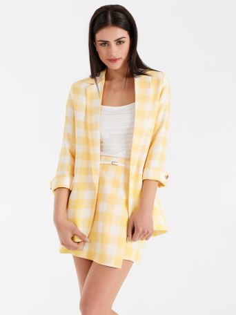 Maxi checker print jacket