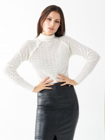 Open stitch turtleneck jumper