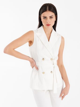 Sleeveless vest in cotton satin