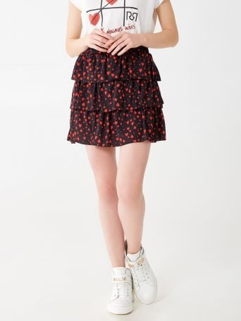 Short skirt with ruffles
