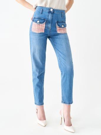 Jeans con Dettagli in Tweed