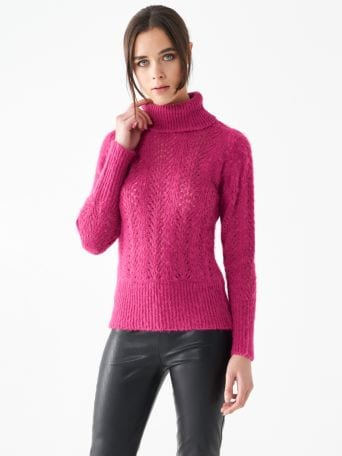 Openwork turtleneck top