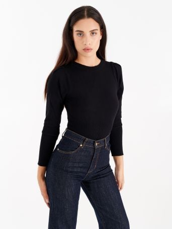 Top with puffed sleeves, colour black