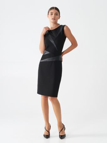 Sheath dress with faux leather inserts