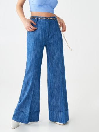 Denim flared trousers