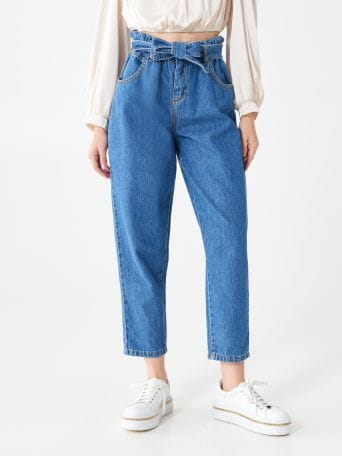 Mom jeans with paper-bag waist