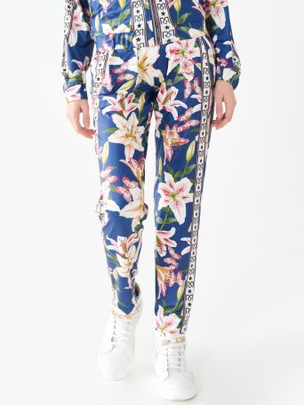 Printed trousers with side bands