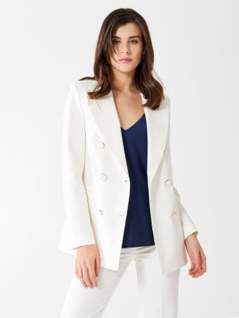 Double-breasted jacket in technical fabric