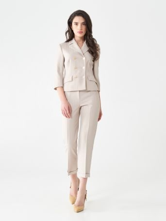 Suit with pinstripe trousers