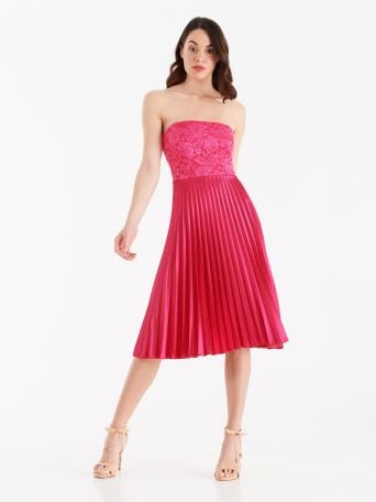 Macramé lace and pleated satin dress