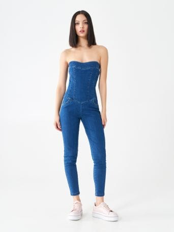 Strapless one-piece denim suit